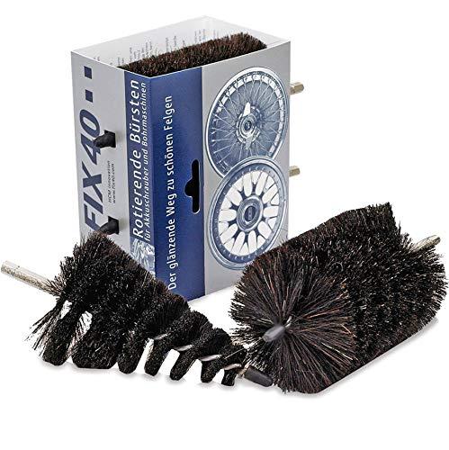 Preisvergleich Produktbild FIX40 Felgen-Reinigungsbürsten-Set,  aus sehr weichem Rosshaar,  zum Reinigen,  Trocknen und zur Politur