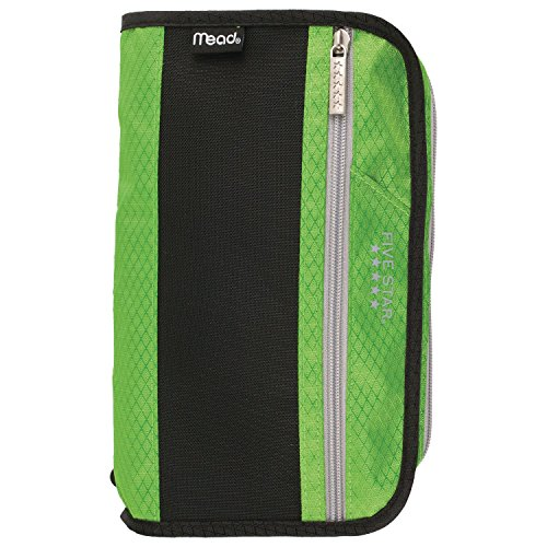 Five Star Pencil Pouch, Pen Case, Fits 3 Ring Binders, Xpanz, Lime/Silver (50206CO8)