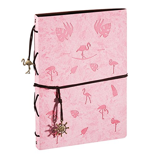 XIUJUAN Scrapbook Photo Album, 60 Pages with Black Refillable Paper, Leather Baby Memory Book for DIY, Birthday, Wedding Anniversary Valentines day Presents for Women Girls Kids, Flamingo Pink