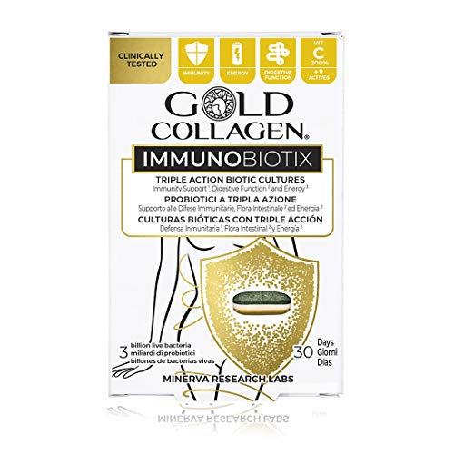Gold Collagen Immunobiotix | The #1 Triple Action Biotic Culture | Probiotic-Based Tablet with Biotic Cultures, Spirulina, Ginger, Zinc, Essential Vitamins & Minerals for Gut Health | 30 Day