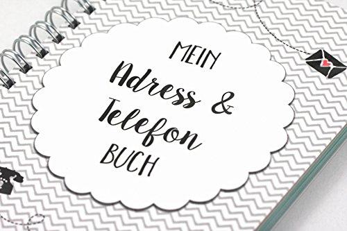 Mein Adressbuch Telefonbuch Kalender Chevron schwarz DIN A6