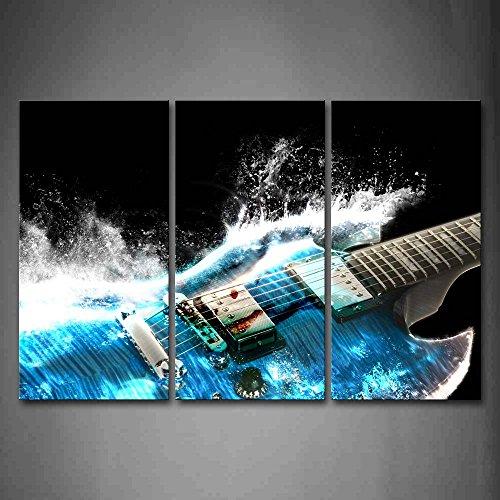 First Wall Art - Gitarre Leinwand Bilder Musik ist Kraftvoll Wie Blaue Wellen Wandbild Poster 3 Panel Modern Dekorationen Für das Wohnzimmer,Büro,Küche,Badezimmer,Schlafzimmer