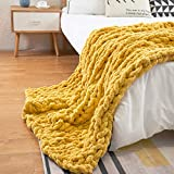 PENKERMAR Chunky Knit Blanket Chenille Throw Hand Knitted Large Soft Chenille Throw and Blanket for Bed Sofa Chair Home Decor Turmeric 47''x71''(Home Size)
