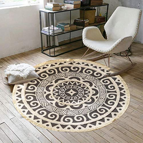 Round Carpet Non-Slip Door Mat Yoga Mat Can Provide Extra Softness for Living Room, Bedroom, Dining Room or Children's room-M-D120cm_N04