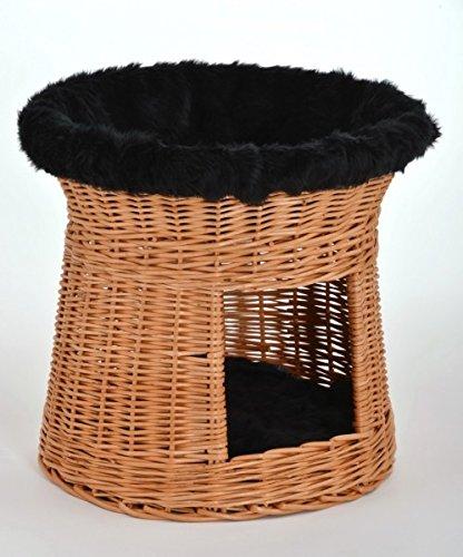 animal-design mandentoren slaapplaats voor kleine honden of katten 'natuur' van gevlochten wilgentenen, ca. D 46cm x H 47 cm, zwart
