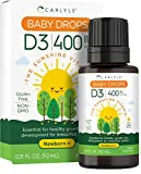 Vitamin D3 Baby Drops   400 IU   9.2 mL   Vegetarian, Non-GMO, Gluten Free Drops for Infants and Newborns   by Carlyle