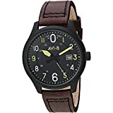 AVI-8 Men's Hawker Hurricane Stainless Steel Japanese-Quartz Aviator Watch with Leather Strap, Brown, 20.4 (Model: AV-4053-0D)