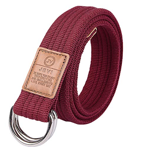 Toumun Cinturón de los Hombres Juventud Cinturón de Hebilla Informal Cinturón de Lona Trenzada de los Hombres Jeans Rojo Vino Cinturón Decorativo (Color : Red)