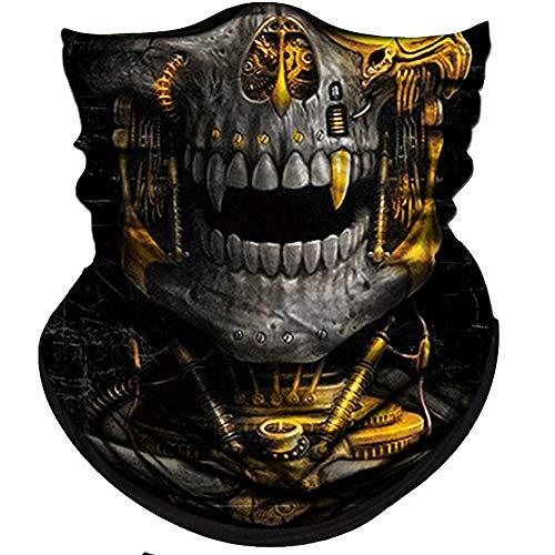 Obacle Skull Face Mask Half for Dust Wind UV Sun Protection Seamless 3D Tube Mask Bandana for Men Women Durable Thin Breathable Skeleton Mask Motorcycle Riding Bike Sports (Mechanical Grey-Gold Skull)