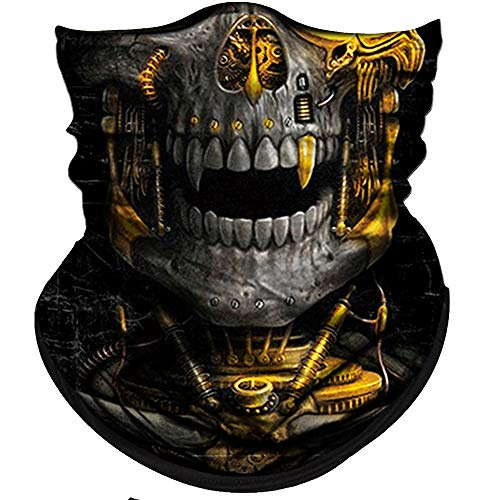 Obacle Skull Face Mask Half for Dust Wind UV Sun Protection Seamless 3D Tube Mask Bandana for Men Women Durable Thin Breathable Skeleton Mask Motorcycle Riding Bike Sports (Mechanical Grey-Gold Skull)