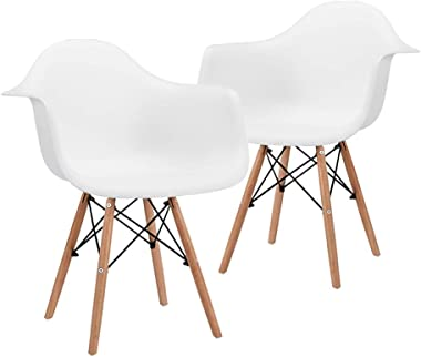 CangLong Natural Wood Legs Mid Century Modern DSW Molded Shell Lounge Plastic Arm Chair for Living, Bedroom, Kitchen, Dining,