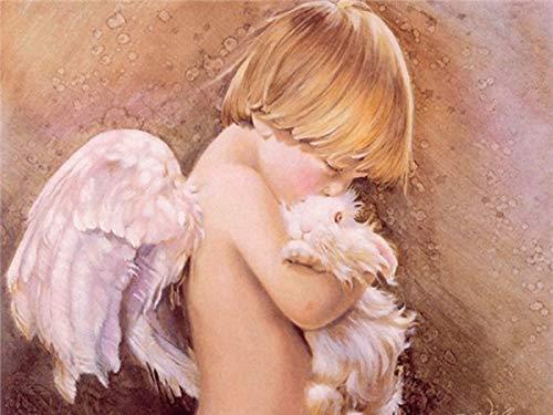 5d DIY pequeño ángel bordado de diamantes punto de cruz niña niño retrato decoración del hogar regalo pintura de diamantes A13 60x80cm