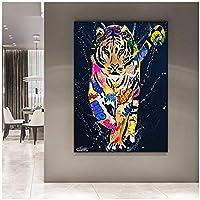 アートパネル ZXYFBH カラフルなタイガーアニマルズキャンバス絵画グラフィティアートポスターとプリント壁アート写真リビングルームモダンな家の装飾19.7x27.6in(50x70cm)x1pcsフレームなし