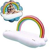 Cama Flotante sobredimensionada Rainbow Island Water, Rainbow Cloud Water Cojín de Escape Flotante Inflable Sillón Flotante con 2 portavasos Rainbow para Piscina en la Playa