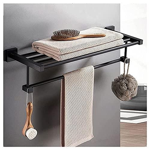 XCTLZG Toallero con estante para baño montado en la pared, espacio de aluminio toallero escalera rack negro moderno resistente a la corrosión estantes de almacenamiento para cocina Lavatorio Hotel