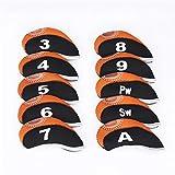 RONSHIN Juego de 10 fundas protectoras para la cabeza de la varilla de golf con patrón numérico, color negro y naranja