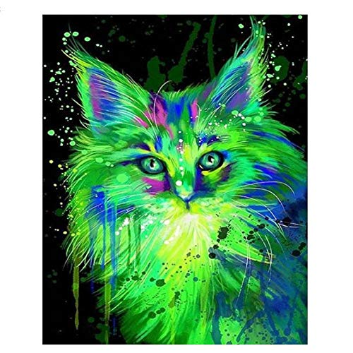 artaslf Full Square Noctilucent Green Cat Animals Mosaic DIY Diamond Painting Cross Stitch Embroidery Novelty Modern 3D DIY Room Decor- 30x40cm unframed