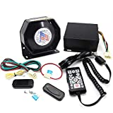 5 Tones 200W Emergency Vehicle Siren Speaker System with Dual Remote Control PA System Auxiliary Light Terminals Fit for Police Ambulance Fire Engineer Volunteer Vehicles