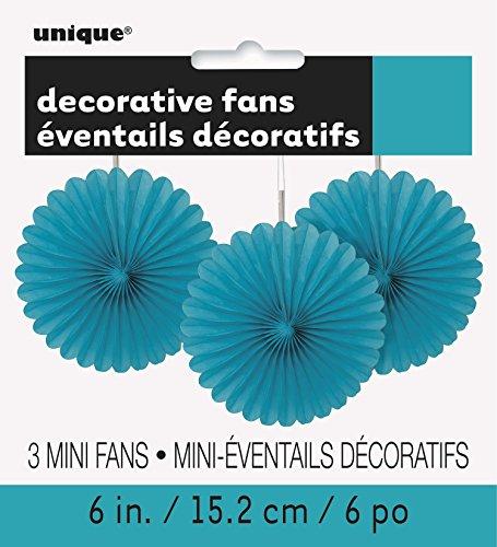 Unique Party 63253 - Mini Teal Tissue Paper Fan Decorations, Pack of 3