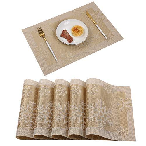 Homcomodar Platzsets Abwaschbar rutschfest Tischsets PVC Vinyl Hitzebeständig Platzdeckchen für Küchentisch 6er Set (Gold)