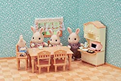 Furniture set with accessories: kitchen cabinet, tea set, toaster oven, dining table, chair, baby chair, etc The toaster oven and kitchenware can be stored in the kitchen cabinet Babies from each family can sit in the baby chair Stimulates imaginativ...
