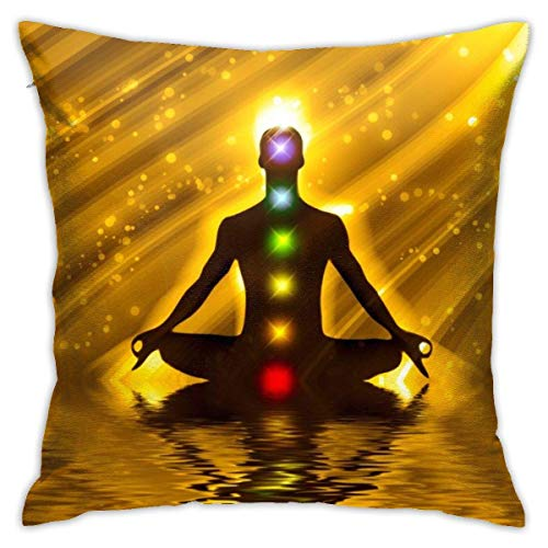 Magical Golden Chakra Meditation Yoga Throw Pillow Cover 18'X18', Double Side Design Bolster Pillowcase, Decorative Cushion Pillow Case for Car Sofa Theme Brithday Party Bedroom Decor Kid Girls Boys