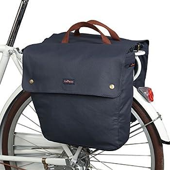 TOURBON Waterproof Canvas Bike Pannier Bag Folding Bicycle Rear Seat Trunk Bag  Roll-up Double