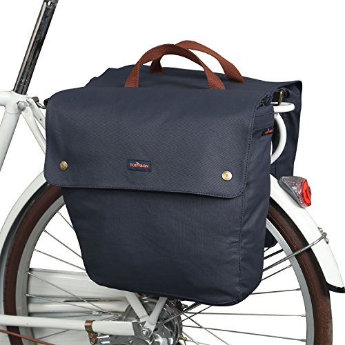 TOURBON Waterproof Canvas Bike Pannier Bag Folding Bicycle Rear Seat Trunk Bag (Roll-up, Double)