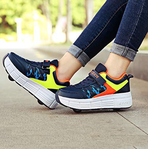 PBY Buty z kółkami dla dziewcząt, buty z kółkami, dla dzieci, ultralekkie, wielofunkcyjne, sportowe wrotki do uprawiania sportu, dla dzieci, studentów, kolor niebieski, 32