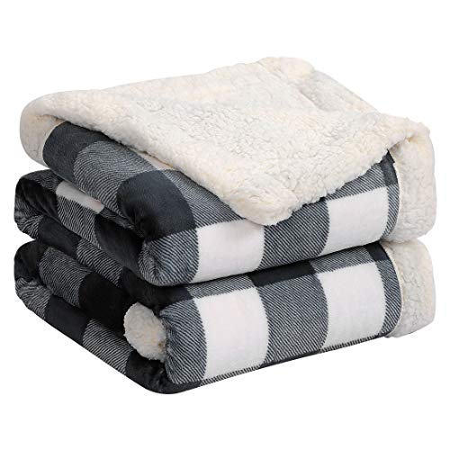 PiccoCasa Plaid Sherpa Fleece Throw Blanket Buffalo Checker Flannel Blankets and Reversible Soft Warm Fuzzy Microfiber Blanket for Couch Sofa, Black and White, Throw Size, 50x60 Inch