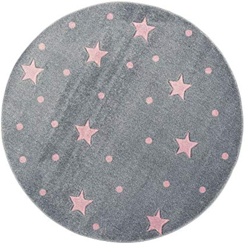 Livone Kinderzimmer Baby Teppich Kinderteppich Punkte Sterne Silber grau Rosa Rosa Rosa Größe 133 cm rund B07JM1RDPP 53123d