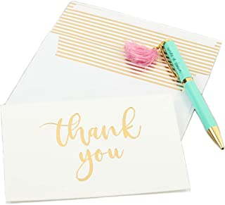 Andaz Press Gold Foil Letterpress Thank You Cards with Self Seal Envelopes, Bulk 50-Pack Note Cards, Embossed Letter Press Folded Calligraphy Thank You Message Stationary Cards for Baby Shower