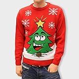Weihnachtspullover mit lachendem Weihnachtsbaum