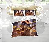 Juego de ropa de cama de 3 piezas con cierre de cremallera Cómo entrenar a tu dragón, 3 piezas (1 funda de edredón + 2 fundas de almohada), Microfibra, Patrón_20., King(104'x90')