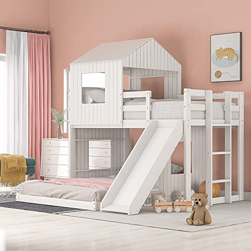 Twin Over Full Bunk Beds with Slide, Bunk Bed for Kids Toddlers, Playhouse Farmhouse Roof Window Guardrail Ladder, for Girls/Boys, No Spring Box Required (White+Slide)…