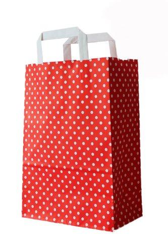 250 Stück farbige Papiertragetaschen Papiertaschen rot-weiß gepunktet 18 + 8 x 22 cm