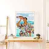 Impresión abstracta de la mujer mexicana colorido cuadro de la pared del cartel del estilo moderno de la lona Pintura Arte Decoración No Frame (Size : 50x70 cm No Frame)