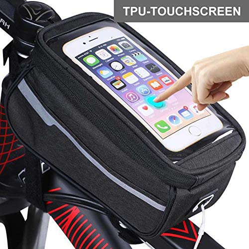 CXQWAN Sac de Cadre Avant vélo, Téléphone Sac étanche Sacoche Top vélo téléphone avec Pack Mont téléphone à écran Tactile de Cas