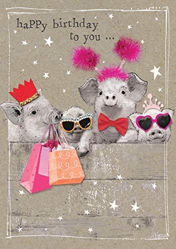 Popshot Studios Humor Geburtstag Karte Glitzersteine Grußkarte Glücksschweine 17x12cm