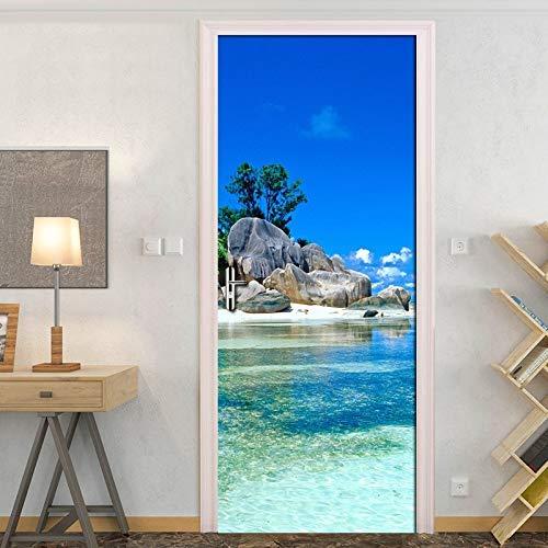 Cielo Azul Nubes Blancas Isla Paisaje 3D Etiqueta De La Puerta Foto Papel De Pared Sala De Estar Dormitorio Impermeable Puerta Pegatinas Decoración del Hogar