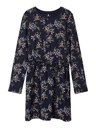 NAME IT Damen Kleid Blumenprint Baumwoll 128Dark Sapphire