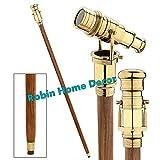 Robin Exports Walking Stick Telescope Handle Cane Folding Brass Copper Wooden Hidden Spy