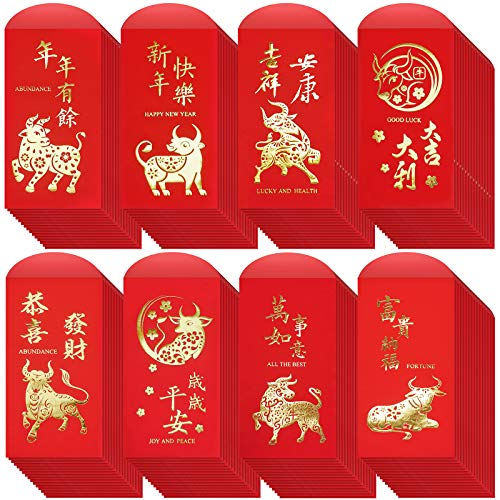 120 pcs 8 Designs Chinese New Year Red Envelopes Hong Bao Chinese Lucky Money Envelopes Red Packets Lai See Cash Envelopes for Chinese Lunar New Year 2021 Chinese Ox Year Birthday Wedding