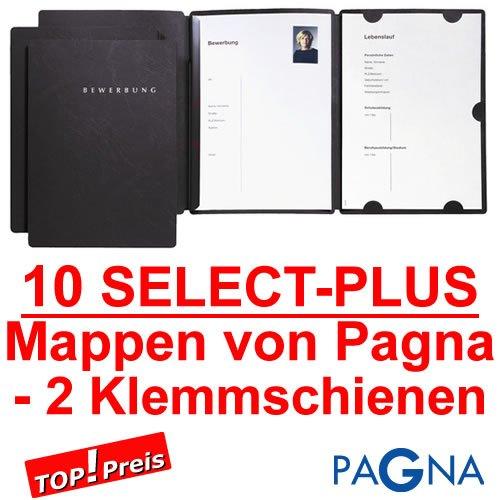 10 dreiteilige Bewerbungsmappen in SCHWARZ mit 2 Schienen von PAGNA//Deutscher Premium Hersteller//Bewerbung Mappe Bewerben