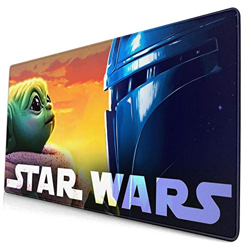 The-Mandalorian Extended Large Mouse Pad Gaming Cute Mandalorian Mouse Pad Rubber Black 30 X16 Inch