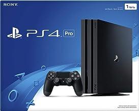 Consola para PlayStation 4 Pro con un controlador de doble impacto y cable HDMI, transmisión de vídeo 4K capaz de hasta 4 reproductores, color negro