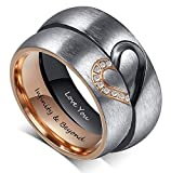 Fortheday Personalized Mens and Womens Promise Rings Set Free Engraving Stainless...