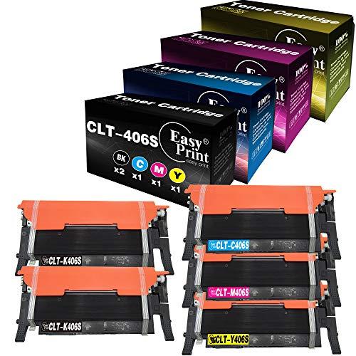 Paquete de 5 Cartuchos de tóner compatibles con CLT-K406S CLT-C406S CLT-M406S CLT-Y406S CLT-406S 406S para impresoras Samsung CLX-3305FW 3307FW SL-C460FW C462FW C463FW CLP-365W 367W