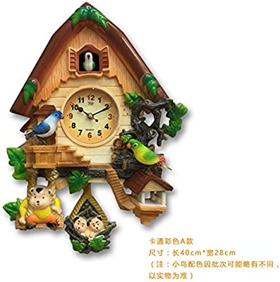Olici Wall Art Decoration Cartoon ChildrenS Room A Cuckoo Clock Timekeeping Living Room Rural Wind Mute