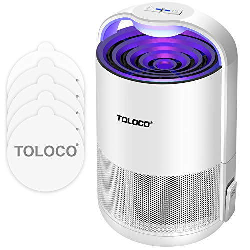 TOLOCO Mosquito Traps for Gnats, Small Moths, Mosquito Trapper Indoor - UV Light, Fans, Sticky Glue Boards, Non-Toxic, Odorless, Child Safe, No Zapper Insect Trap (Zap T360 Pro, White)